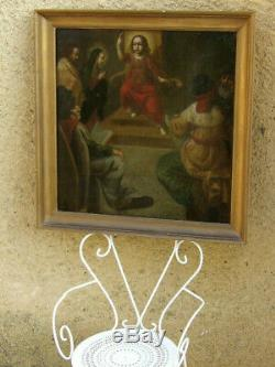 L'ENFANT JÉSUS PARMI LES DOCTEURS. GRANDE & EXCEPTIONNELLE TOILE BIBLIQUE XVIIe