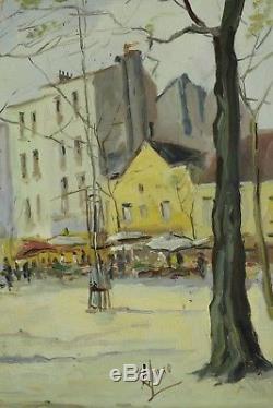L. Muso, Paris, Place du Tertre, Jour de Marché, Ancienne huile, Circa 1950