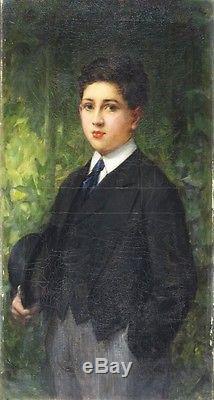 Léon COMERRE Portrait de jeune garçon en habit Huile sur toile 1900 Belle Epoque