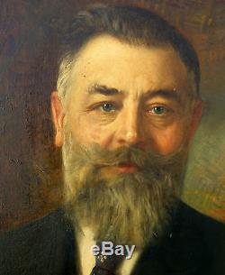 Léonie Michaud Portrait d'homme huile sur toile Ecole française 1919