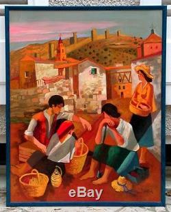 La vieille cité Maure à Albaracin grande huile sur toile de Jean ABADIE