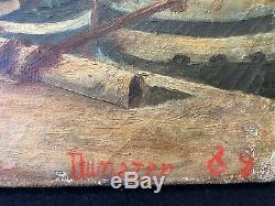 Le Port De Sète Huile Sur Toile signée Dumazer 1889 Hérault