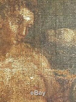 Léda et le cygne école du XVIIIe siècle anonyme HST d'après Léonard de Vinci
