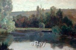 Léon BAROTTE, paysage 1906, étang, arbres, pêcheur, Lorraine, tableau, peinture