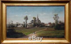 Léon Giacobini (1813-1900) village orléanais Berry huile sur toile 27x48cm