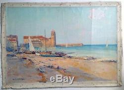 Léon LAUNAY (1890-1956) Post impressioniste Port de Collioure Huile sur toile