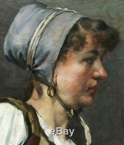 Louis BOCHARD tableau huile portrait femme pêcheuse POLLET DIEPPE Normandie art