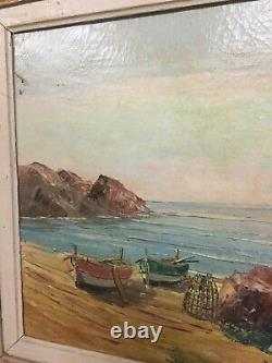 Louis Jacques Vigon huile sur toile Var marine HST