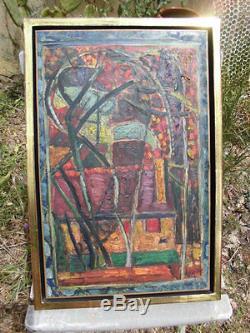 Louis Latapie, Jardin à Seine Port. Huile sur toile vers 1945. Composition cubiste