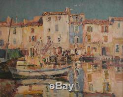 Louis Montagné (MONTAGNE). Martigues. Huile sur toile v634