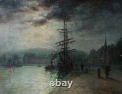 Louis Timmermans 1846-1910. Grande Toile. Effet De Lune A Dieppe, Quai Berigny