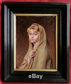 Louise CANUET tableau portrait jeune fille femme enfant blonde yeux bleus huile