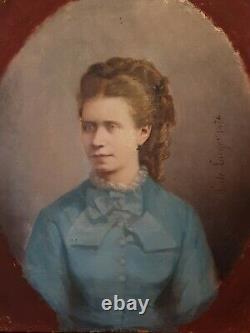 Louise Victoire De Lacger, portait de femme, huile sur toile daté 1876
