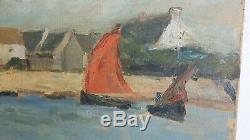 Luc LEPETIT Tableau HUILE sur TOILE 1926 Signe PORT de LOCQUEMEAU Peinture Art