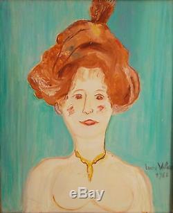 Lucie VALORE (1878-1965) huile sur toile Portrait de femme 1962