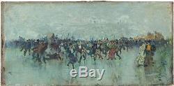 Luigi LOIR (1845-1916) PATINEURS AU BOIS DE BOULOGNE PARIS HUILE EXPERTISEE