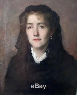 MAGNIFIQUE HUILE SUR TOILE 40 X 50 cm PORTRAIT DE JEUNE FEMME DLG MANET 1860