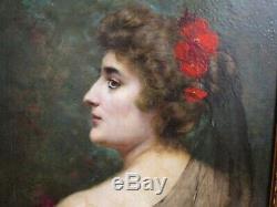 MAGNIFIQUE PORTRAIT DE FEMME ENCADRE 68 x 57 cm XIX ème SIGNE LEON HOUBAER 94