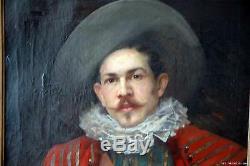 MAGNIFIQUE PORTRAIT DE MOUSQUETAIRE ENCADRE 106 x 89 cm XIX ème ÉCOLE ESPAGNOLE
