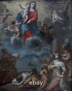 MAGNIFIQUE TOILE XVIIe. LA VIERGE MARIE & LA LIBÉRATION DES CHRÉTIENS D'ORIENT