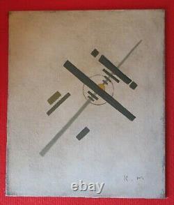 MALEVITCH Avant Garde Russe Suprématisme Rare Huile sur toile Monogrammée K. M