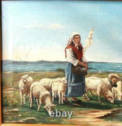 MOUTONS et BERGÈRE Fileuse 1886 Huile Signée PARDIAC toile 70cm PROVENCE XIXe