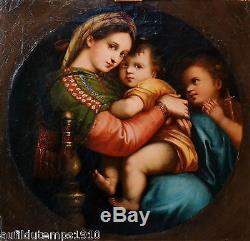 Madonna della sedia PEINTURE A L'HUILE XIXeme TABLEAU ANCIEN CADRE