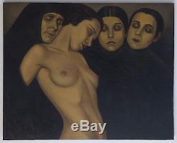 Magnifique Peinture Expressionniste, Huile sur Toile, début du XXème, nue, nude