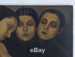 Magnifique Peinture Expressionniste, Huile sur Toile, nue, nude