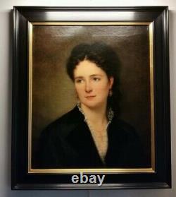 Magnifique Portrait Femme Élégante Belle Époque Peinture Tableau Ancien XIX Hst
