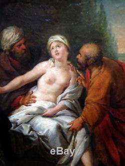 Magnifique ancienne huile sur toile suzanne et les vieillards XVIII XIX nu