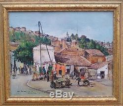 Magnifique école ORIENTALISTE village BEJAIA ALGERIE 1942 huile toile