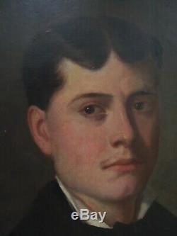 Magnifique grand portrait d'homme du XIX e signé J. COLLINET daté 1881(BENEZIT)