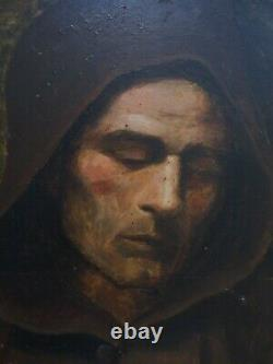Magnifique portrait de moine du XIX e siècle daté 1890