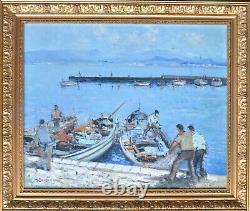 Marce BOUDOU (Aveyron). Beau tableau. Vue d'un port. Toulon Méditerranée