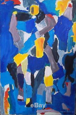 Marcel BURTIN (1902-1979) Huile sur toile, Composition bleue, datée et signée
