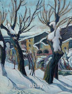 Marcel Bacconnier 1913-2004. Grand & Magnifique Paysage Hivernal En Ardeche