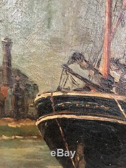 Marine. Frans Van damme (1858 / 1925). Huile sur toile
