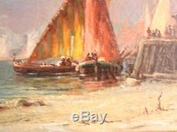 Marine aux felouques XIXème peinture à l'huile sur toile attribuée à Duvieux