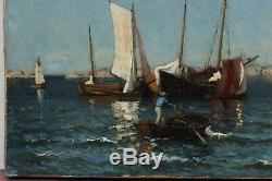 Marine en méditerranée, J. M. Grimelund (1842-1917)