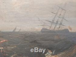 Marine, vaisseau, bateau, marins, naufrage, huile sur toile 19 ème siècle