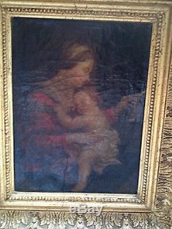 Maternité huile sur toile debut XVIII eme siecle ecole italienne