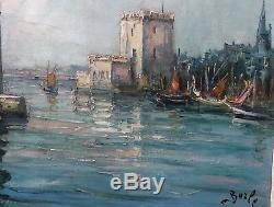 Maurice Barle Huile Sur Toile Port De La Rochelle / Marine / Bateaux