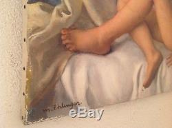 Maurice EHLINGER (1896 -1981) Grand Nu Jeune fille au tableau Huile Toile signée
