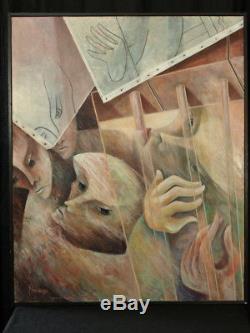 Mendrisse Grand Tableau Contemporain huile sur toile Portrait Moderne Peinture