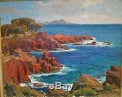 Michel Vilalta-provence-marseille-paysage-mediterranee-cote Rocheuse-huile-toile