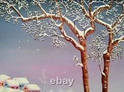 Michèle Vert-Nibet Huile sur toile Ecole naïve paysage de neige