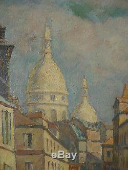 Montmartre à Paris Peinture signée Émile DANCRE (1901-1977) daté 1929