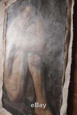 NU tableau peinture huile sur toile homme sexy nu assis endormi