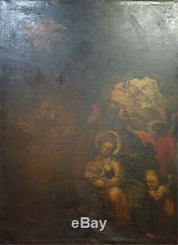 Naissance De Jésus. Huile Sur Toile. École Espagnole Siglo Xvii-xviii